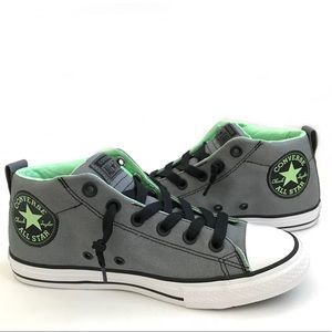 Youth Grey/Green Mid-top Converse Sneaker